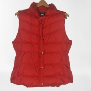 J. Crew Red 80% Down Filled Puffer Vest Zip Snap